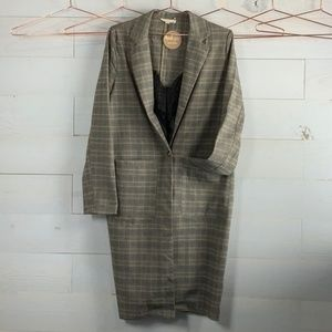🛍NEW🛍Bark & Grey Plaid Trench